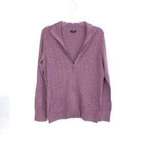 Talbots Women's Purple Zip Up Cardigan Sweater CFK